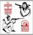 american indians set of vintage emblems labels vector image vector image