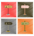 assembly flat shading style icons mall sign vector image vector image