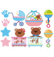 baby toys and accessories on white background vector image