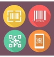 Bar and Qr code icons Smartphone symbols with vector image vector image
