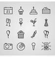 Birthday Icons Set vector image vector image