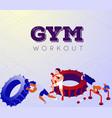 cartoon team bodybuilders exercising in sports vector image