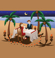 couple having romantic candle light dinner vector image vector image