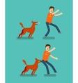 Dog bite man Cartoon vector image