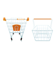 Empty Shopping Cart And Basket Set vector image vector image