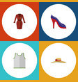 flat icon garment set of singlet elegant headgear vector image vector image