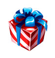 gift box with blue ribbon bow striped wrapped vector image vector image