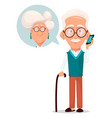 grandfather calling to grandmother vector image vector image