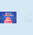 happy birthday postcard holiday card with flat vector image vector image