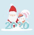 happy new year 2020 celebration santa and rabbit vector image vector image