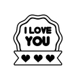 i love you decor ribbon label outline vector image vector image