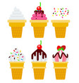 ice cream set in wafer cups flat isolated vector image