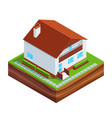isometric concept of building a house vector image vector image