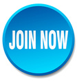 join now blue round flat isolated push button vector image vector image