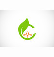 letter c green leaf organic logo vector image vector image