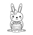 line famale rabbit animal with sweet donuts vector image vector image