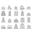 line skyscrapers and houses outline city and town vector image