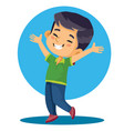 little boy asian appearance in a green t-shirt vector image vector image