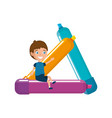 little boy student with crayons character vector image