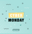 modern cyber monday banner in memphis style vector image