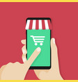 online shopping app on smartphone screen vector image vector image