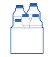 paper bag with milk bottles in blue silhouette vector image