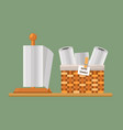 paper kitchen towels on stand and in basket vector image