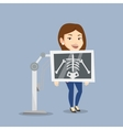 Patient during x ray procedure vector image vector image