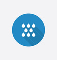 rain Flat Blue Simple Icon with long shadow vector image vector image