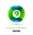realistic number nine symbol in colorful circle vector image