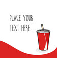 red template with red soda cup vector image vector image