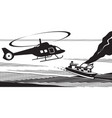 rescue helicopter approach maritime accident vector image vector image