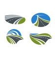 Roads and highways icons with nature landscapes vector image vector image