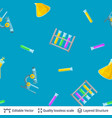 seamless pattern colorful chemical test tubes vector image