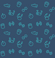 seamless pattern with gym line icons vector image