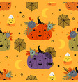 seamless pattern with pumpkins spider and candy vector image