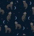 seamless pattern with wolves howling at moon vector image