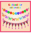 Set of three garlands and volume labels vector image