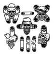 set skull with skateboard vector image