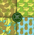 Sketch set of patterns with pineapple and banana vector image