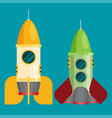 space rocket flat design colored vector image