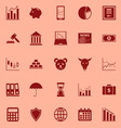 Stock market color icons on red background vector image