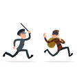 thief escape loot policeman run character retro vector image vector image