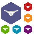 thongs icons set hexagon vector image vector image