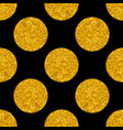 tile pattern with big golden polka dots on black vector image