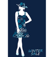 Winter sale with woman silhouette in snowflakes vector image vector image