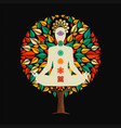 yoga tree concept with woman in lotus pose vector image vector image