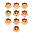 boy or man different face emotions collection vector image