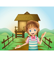 A girl in front of the nipa hut vector image vector image