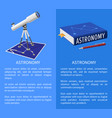 astronomy banner with frame place for text vector image vector image